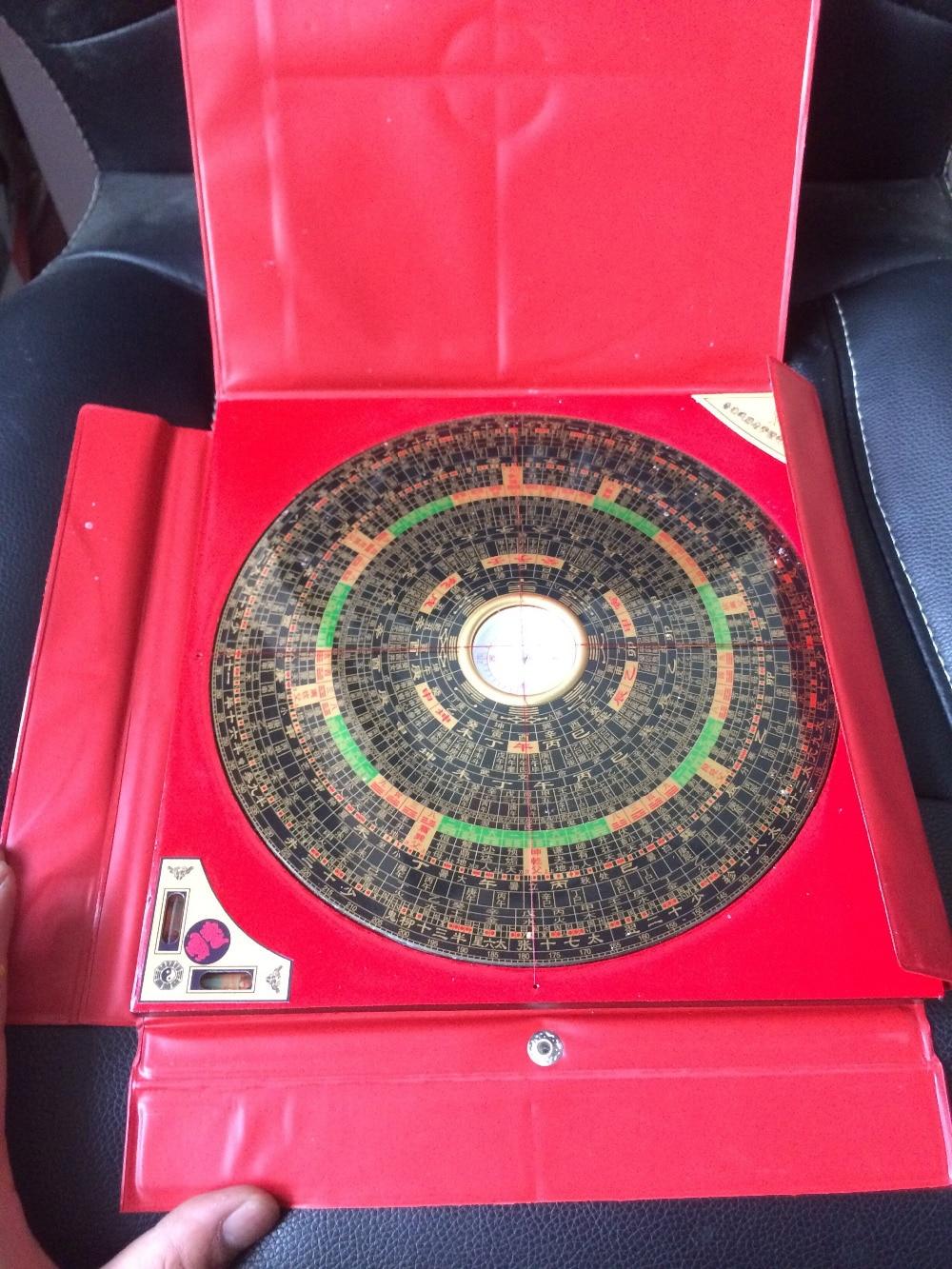 Chinois FENG SHUI Dragon métal & bois boussole magnétique en plastique rouge boîtier nouveau métal artisanat.