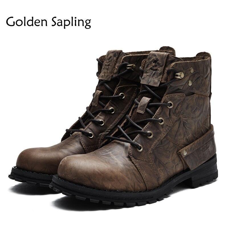 Golden Sapling Hiking Shoes Men Tactical Boots Men's Sneakers Genuine Leather Lace Rubber Men Trekking Boots Men's Outdoor Shoes men winter boots plush warm hiking boots outdoor tactical trekking shoes men genuine leather waterproof ankle boots men sneakers