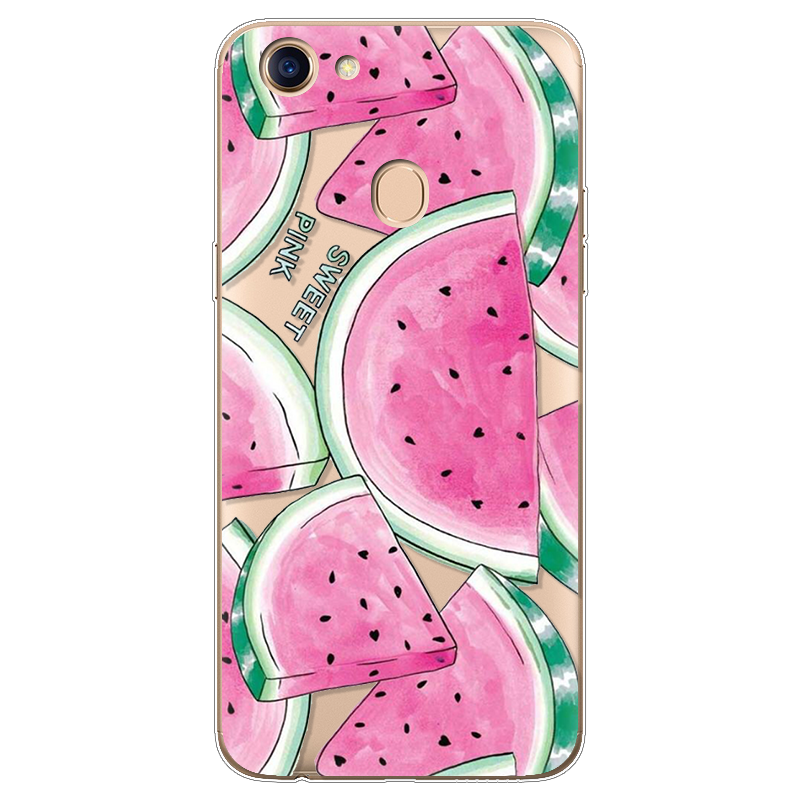 Case Silicone Ultra Thin Soft For OPPO F5 Case TPU Rubber Transparent Clear Back Watermelon Cactus Flamingo Cartoon Print Cover