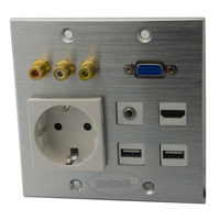 120 X 120mm Aluminum Face Plate With HDMI 3 5mm Audio 3RCA AV USB VGA EU