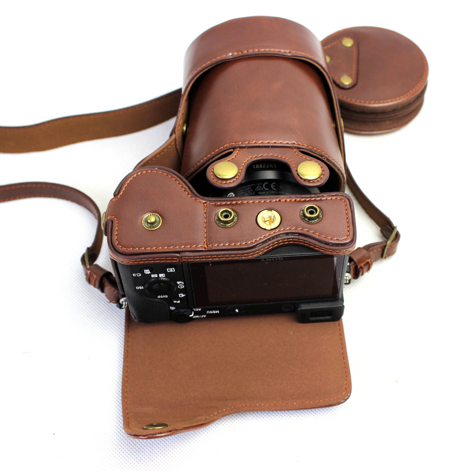Deluxe Edition PU Leather Camera Case Cover For <font><b>Sony</b></font> <font><b>Alpha</b></font> A6500 ILCE-<font><b>6500</b></font> 16-70/18-55mm Lens With Storage Bag Bottom Open Case image