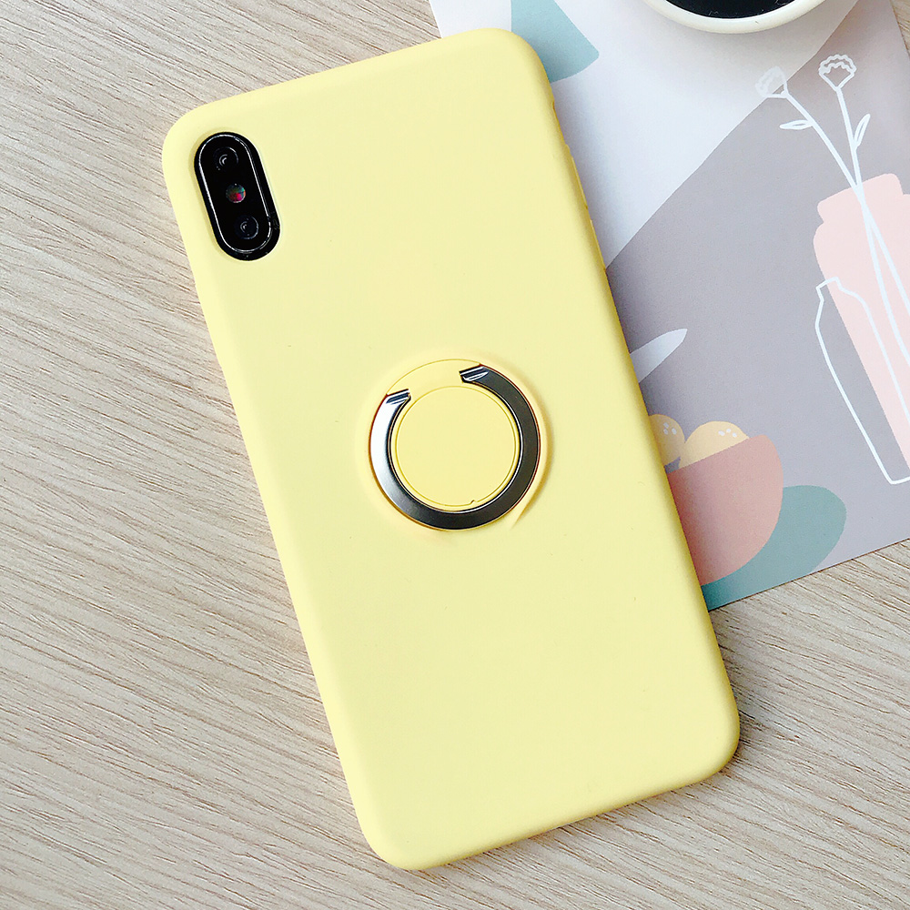 KIPX1110Y_1_JONSNOW Pure Color Phone Case for iPhone XS XR XS Max 6 6S 7 8 Plus Matte Soft TPU Solid Cover with Ring Holder Capa Fundas