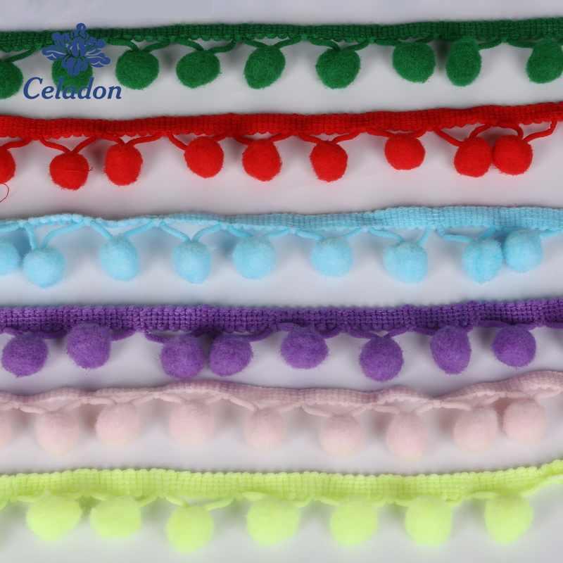 5 jardów Pom pompon koronki 10mm MINI perła pomponowe wykończenia wstążka z frędzlami szycia koronki Kintted tkaniny ręcznie DIY akcesoria rzemieślnicze