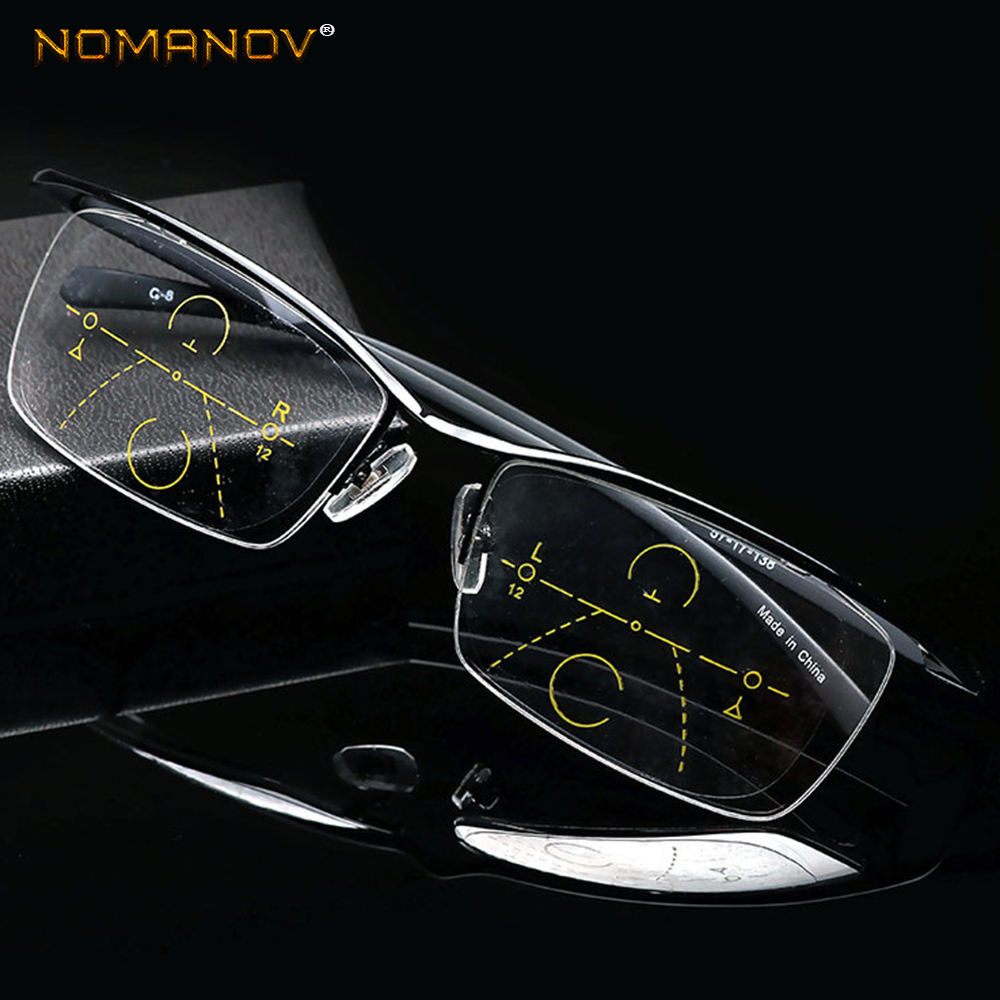 NOMANOV = Progressive Multifocal Reading Glasses Titanium Alloy Trend Retro Eyebrow Eyeframe See Near And Far TOP 0 ADD +1 To +4
