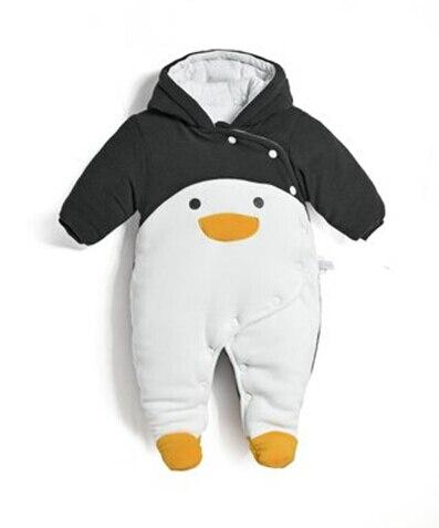 2017 на осень-зиму Одежда для новорожденных комбинезон для новорожденных хлопок толстые комбинезоны детские теплые комбинезоны Пингвин живо...