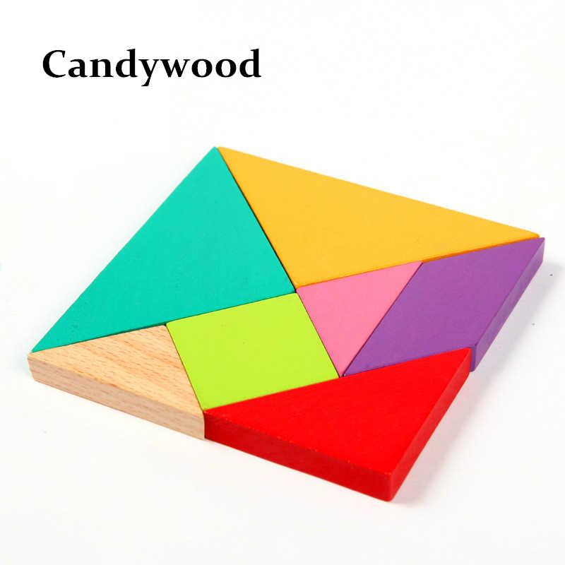 10x10 см Развивающий Пазл деревянные игрушки развивающая игрушка большая Деревянная головоломка Танграм Пазлы для детей