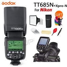 лучшая цена Godox TT685N 2.4G HSS 1/8000s i-TTL GN60 Wireless Speedlite Flash for Nikon D800 D700 D7100 D5200 D5100 D70 + Xpro-N Transmitter