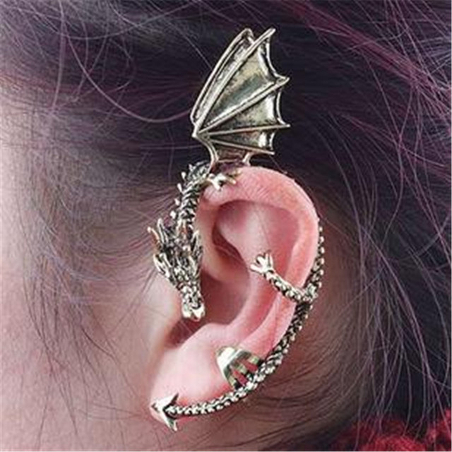 Hyperbole Punk Style Silver Bronze Cool East Dragon Hoop Earrings Party Accessories Long For Men