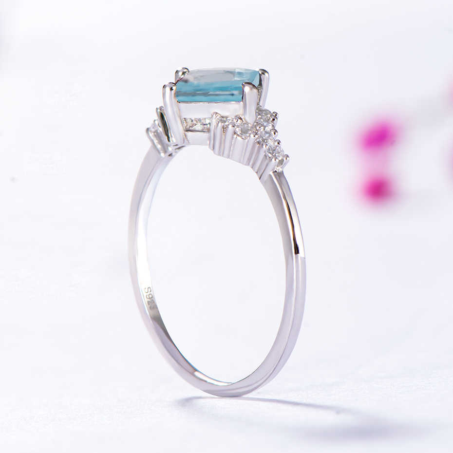Kuololit Sky Blue Topaz Gemstone Rings for Women 925 Sterling Silver Square Cut Stone Wedding Engagement Christmas Gift Jewelry