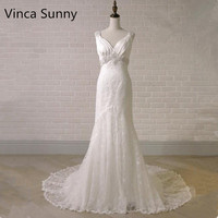 Amazing V neck Lace Wedding Dress 2018 Backless Beading Crystal Spaghetti Straps Bridal Gown Sashes mermaid Custom Size Gown