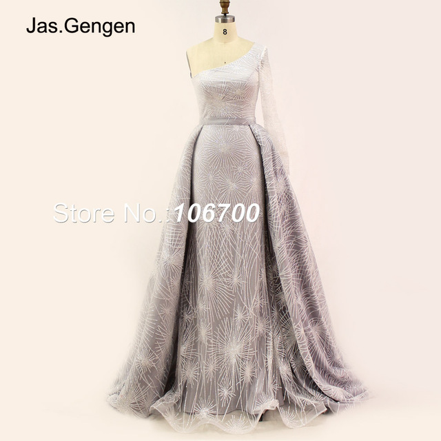 2018 Two Pieces Detachable robe de soiree Evening Dress Elegant One Sleeve  Shining Glitter Fabric White b139d1052479