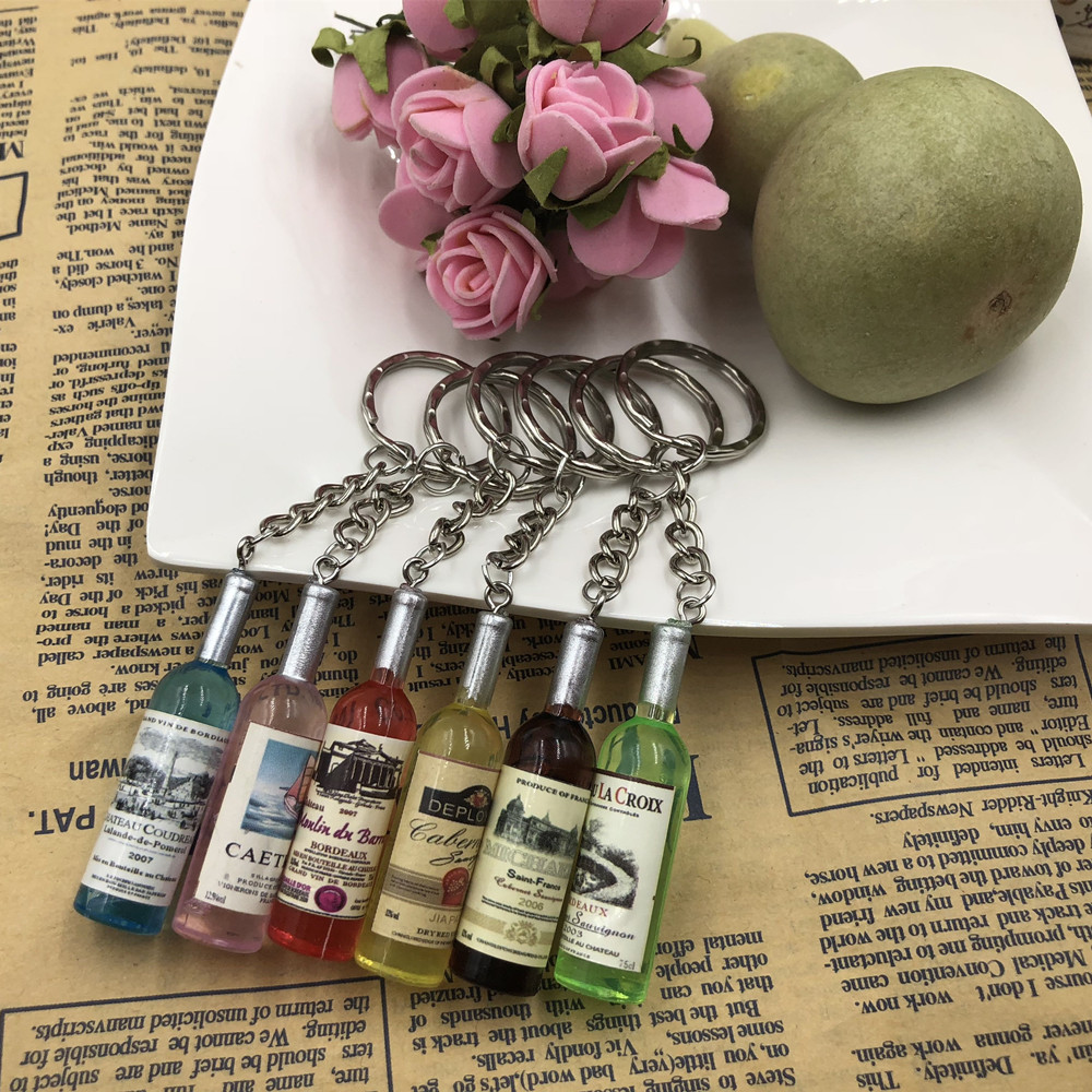 Fashion New Women/Men's Fashion Handmade Resin Wine Bottle Key Chains Charm Key Rings Alloy Charms Gifts  Wholesale