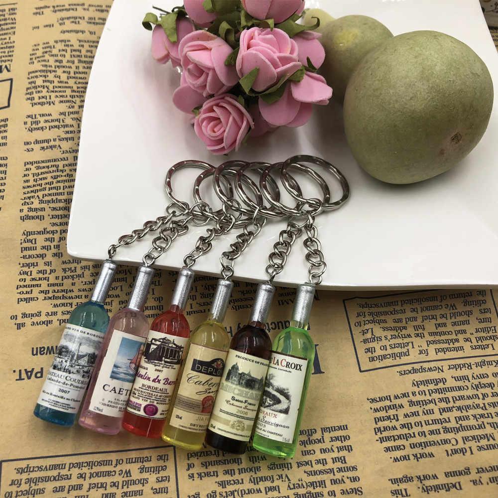 Llaveros de botella de vino de resina hechos a mano para mujer/hombre, llaveros, llaveros de aleación, dijes de regalo, venta al por mayor