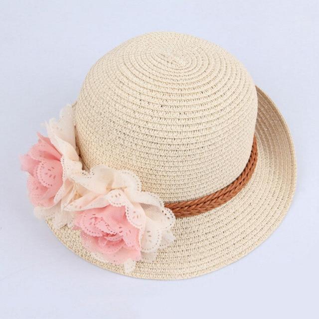 84129eeb Summer Hats for Kid Children Flower Straw Hat Baby Girls Beach Hats kids Sun  Hat Girl Beach Cap for 2-7Y Wide Brim Floppy Panama