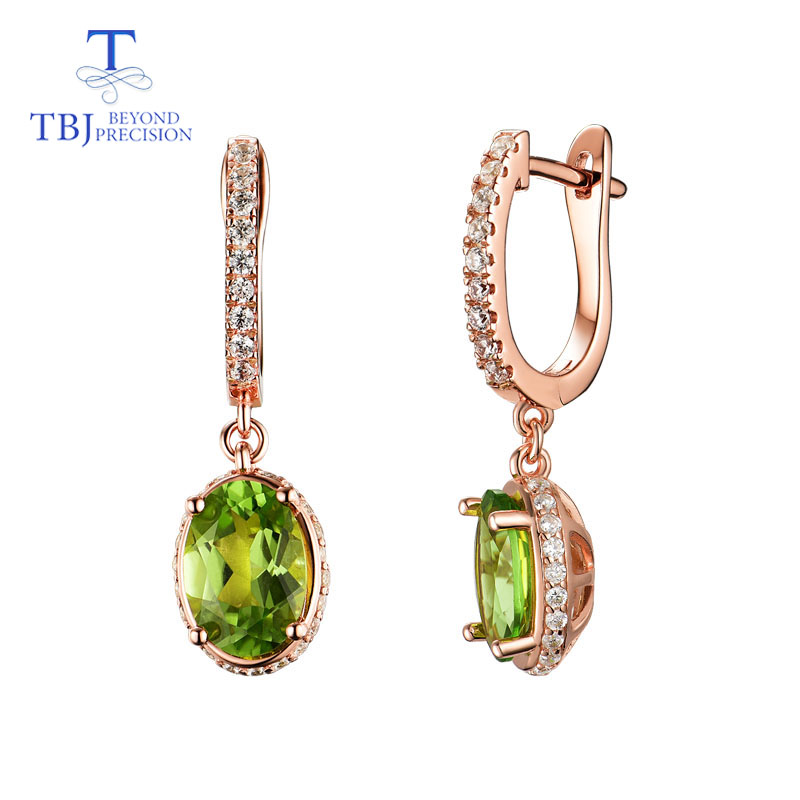 TBJ natural green Peridot gemstone oval 7 10mm earrings in 925 sterling sliver rose color simple