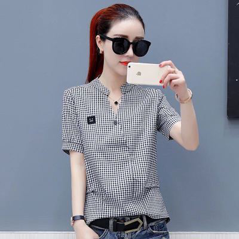 Casual Plaid Women Blouses Pink Black Check Boyfriend Style Short Sleeve Shirts Loose Camisa Tops Autumn Summer Plus Size 2019 Customers First Women's Clothing