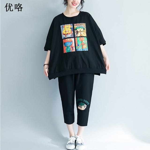 8128c663f2 2019 Summer New Plus Size T Shirt Women Kawaii Cartoon Printed Large Size T  Shirts Top