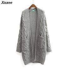 Xnxee Winter 2018 Autumn New V Neck Long Cardigan Twist Casual Loose Sweater Women Oversized Poncho Knitted Wear Jumper LS28