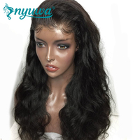 Nyuwa Full Lace Human Hair Wigs For Woman Natural Black Pre Plucked Natural Hairline Body Wave Brazilian Remy Hair Lace Wigs
