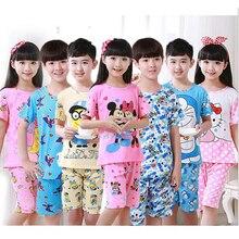 2016 детей пижамы набор детей девочки мальчики мультфильм повседневная одежда костюм с коротким рукавом пижамы детей пижамы наборы