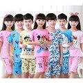 2016 niños pijamas de los cabritos determinados del bebé historieta de los muchachos ropa casual traje de manga corta para niños ropa de dormir pijamas conjuntos