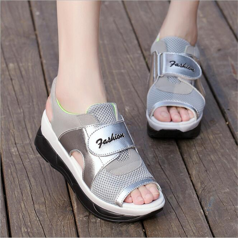 Women Sandals 2018 Fashion Summer Casual Sport Mesh Breathable Shoes Women Ladies Wedges Sandals Lace Platform Summer Shoes minika women sandals summer shoes breathable lace flats platform wedges lose weight creepers summer sandals cd41