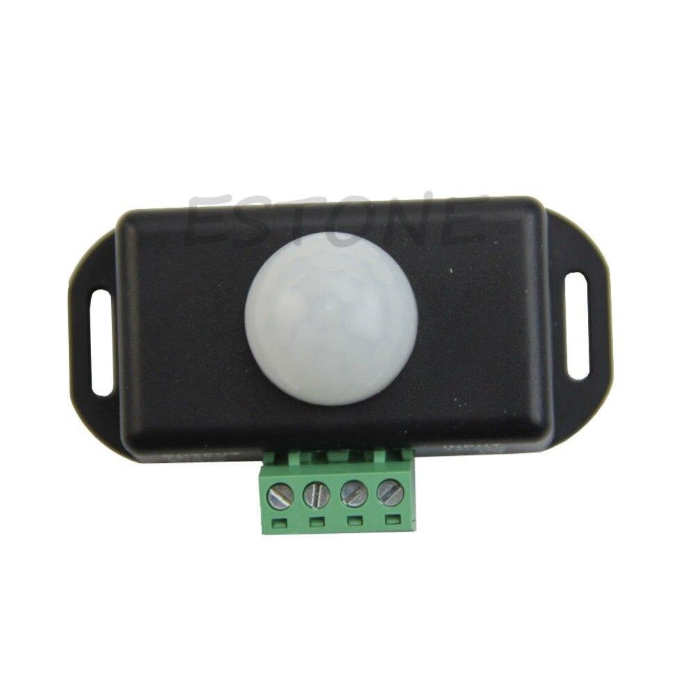 Interruptor de Sensor de Movimiento infrarrojo PIR de Cuerpo 12 V-24 V para Tira de luz LED Interruptor autom/ático con Sensor de Movimiento PIR de Infrarrojos autom/ático Negro