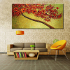 Modern Hand-painted Abstract Pictures Red Cherry Blossom Tree and Flowers Palette Knife Oil Paintings on Canvas 3D Wall Decor 1