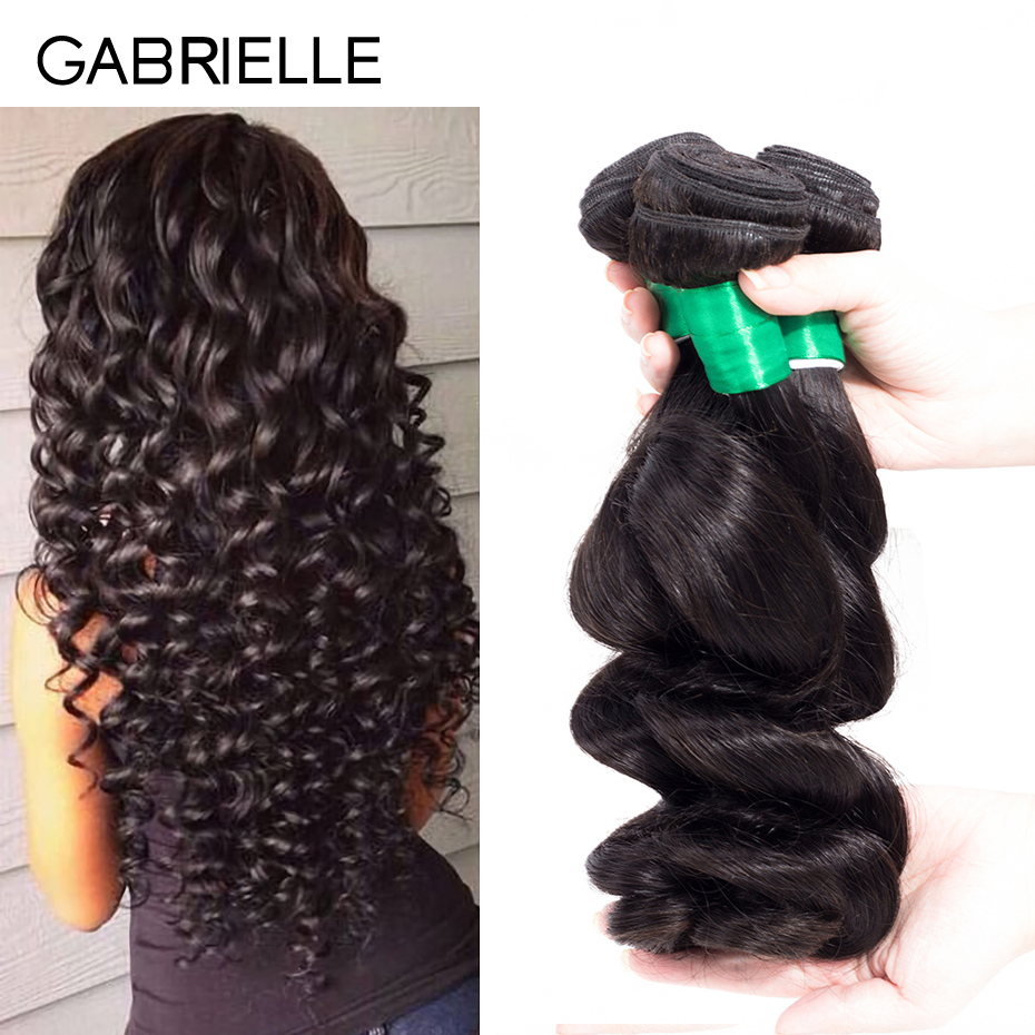 Gabrielle Peruvian Loose Wave 3 Bundles Hair Weaving Natural Black Non Remy Human Hair Extensions Free Shipping