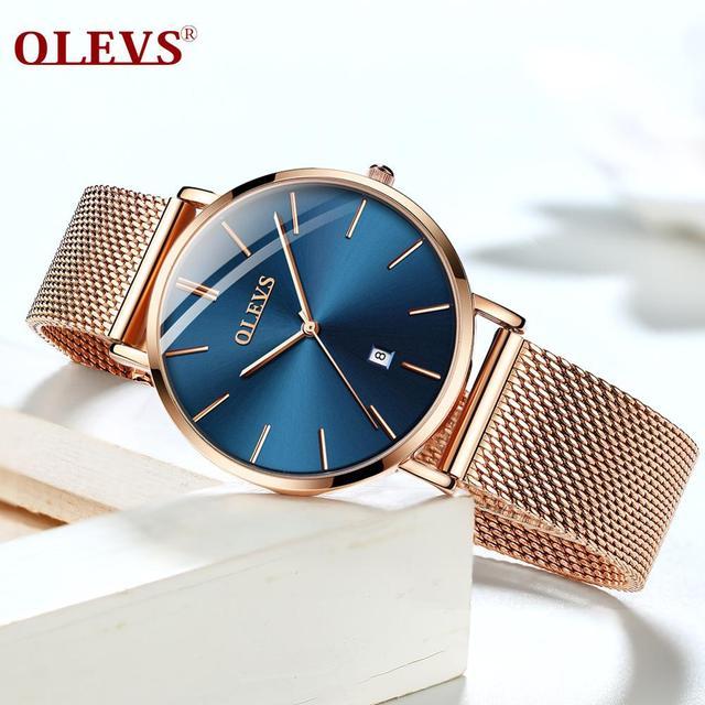 Ultra thin Ladies Watch Waterproof Rose Gold Stainless Steel Quartz Calendar Wrist Watch 2