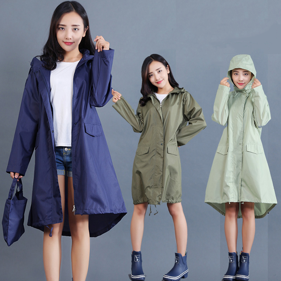 PVC Raincoat Women Long Waterproof Poncho Woman Jackets Rain Cover Cape Chuva Coat Oilskin Girls Clear Raincoats Hooded RBY043 in Raincoats from Home Garden
