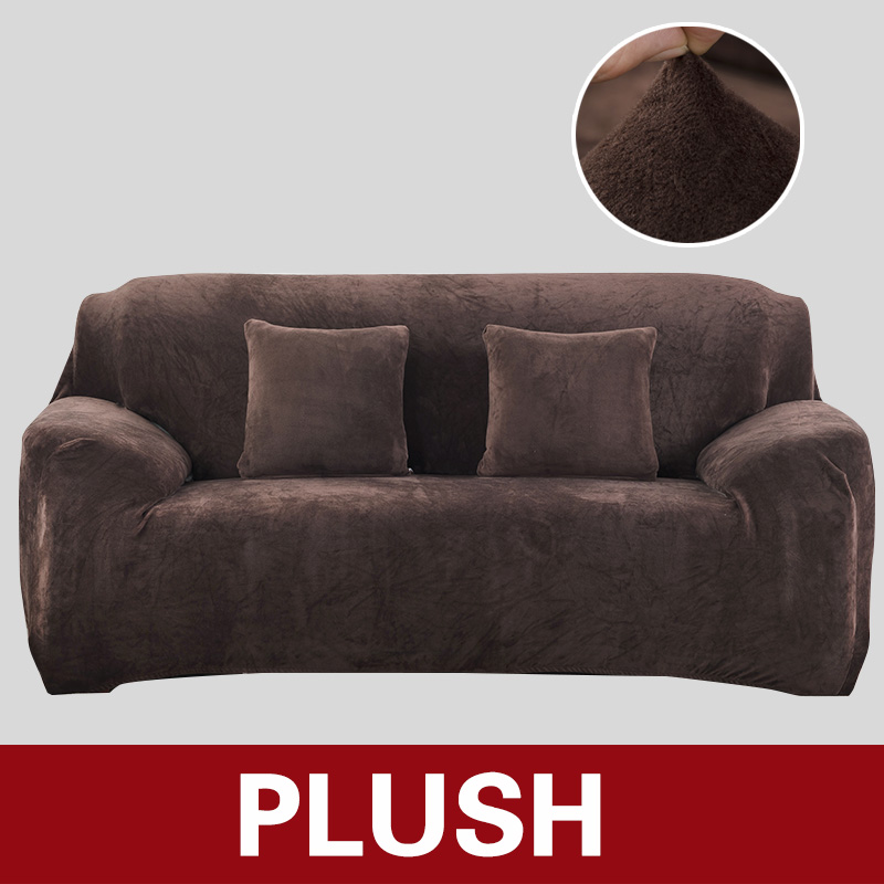 Plush Sofa Cover stretch Solid Color Thick Slipcover sofa covers For Living Room slip cover Protector Sofa Towel 1/2/3/4 Seater