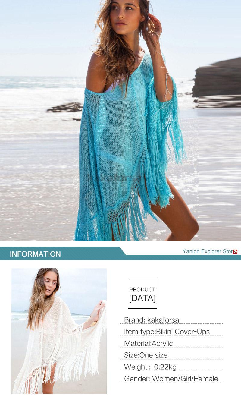 3ec9eab09 Kakaforsa Sexy Crochet Hollow Beach Cover Up 2018 Tassel Swimwear ...