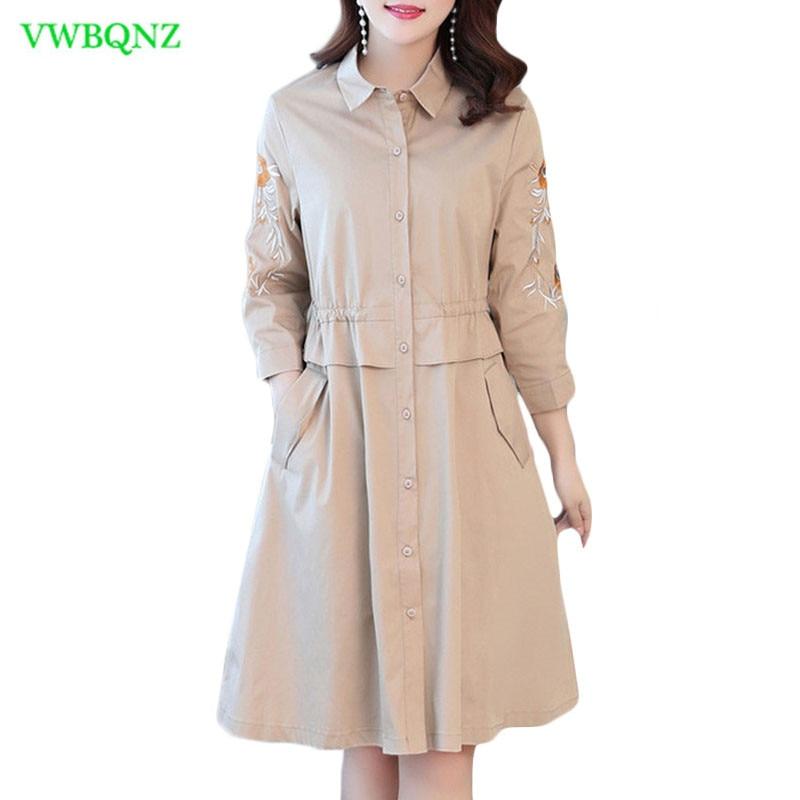 Female Embroidered Dress Spring Summer New Slim Long Seven sleeves Shirt Dresses Women Plus size Khaki A word Dresses 4XL A692