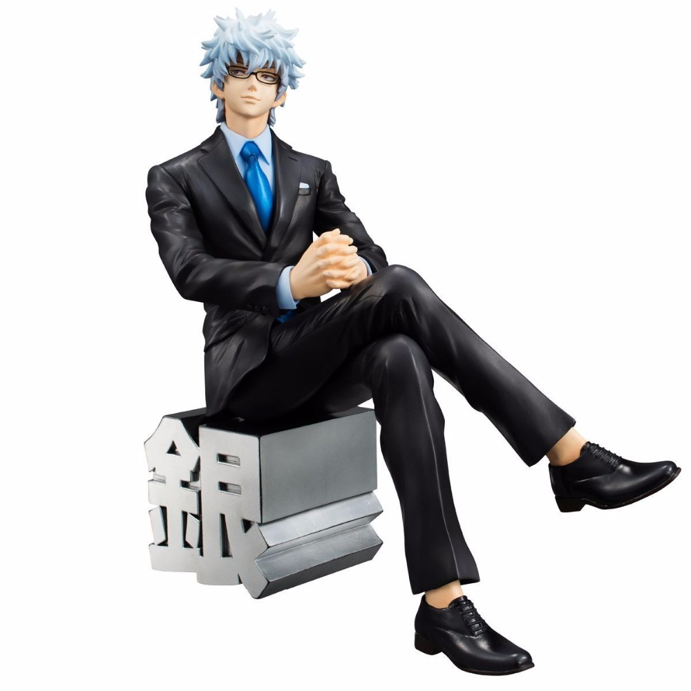 Anime Gintama Silver Soul MegaHouse G.E.M Sakata Gintoki Suit Ver. PVC Action Figure Collectible Model Kids Toys Doll 15cm 5pcs gintama figures sakata gintoki kamui shimura shinpachi takasugi shinsuke silver soul pvc figure phone strap pendant toys