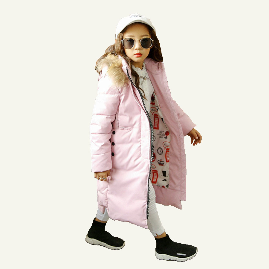 Children Jacket With Faux Fur Collar 2017 Winter Girls Coat European White Duck Down Jacket For Girls Pretty Blue Long Coat Kids