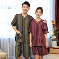 Couple Pajama Sets 2017  Hight Quantity Sleepwear Cotton Stripe V Neck Short Sleeve Women and Men Cotton Sleepwear Pajamas Set