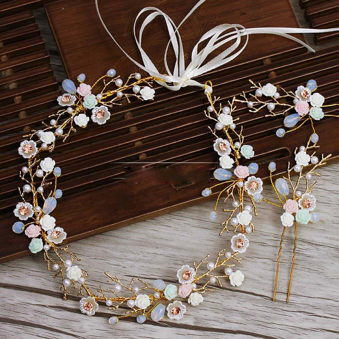 degë të arta Lule qeramike Lidhje flokësh me shirita kostum Dasma - Bizhuteri të modës - Foto 2