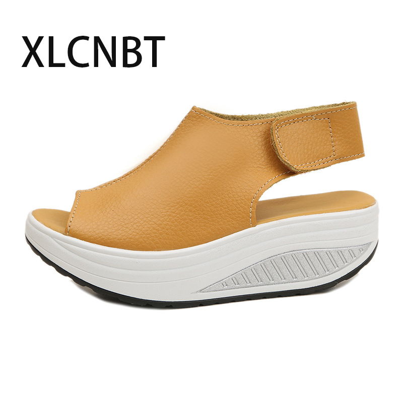 women shake shoes high heel female sandals summer thick bottom wedges sponge waterproof sandals fish toe big size shoes
