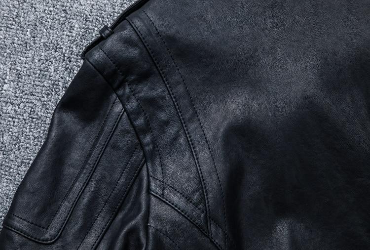 HTB1cyuWlBjTBKNjSZFNq6ysFXXaa MAPLESTEED 100% Natural Sheepskin Tanned Leather Jacket Black Soft Men's Motocycle Jackets Motor Clothing Biker Coat Autumn M111