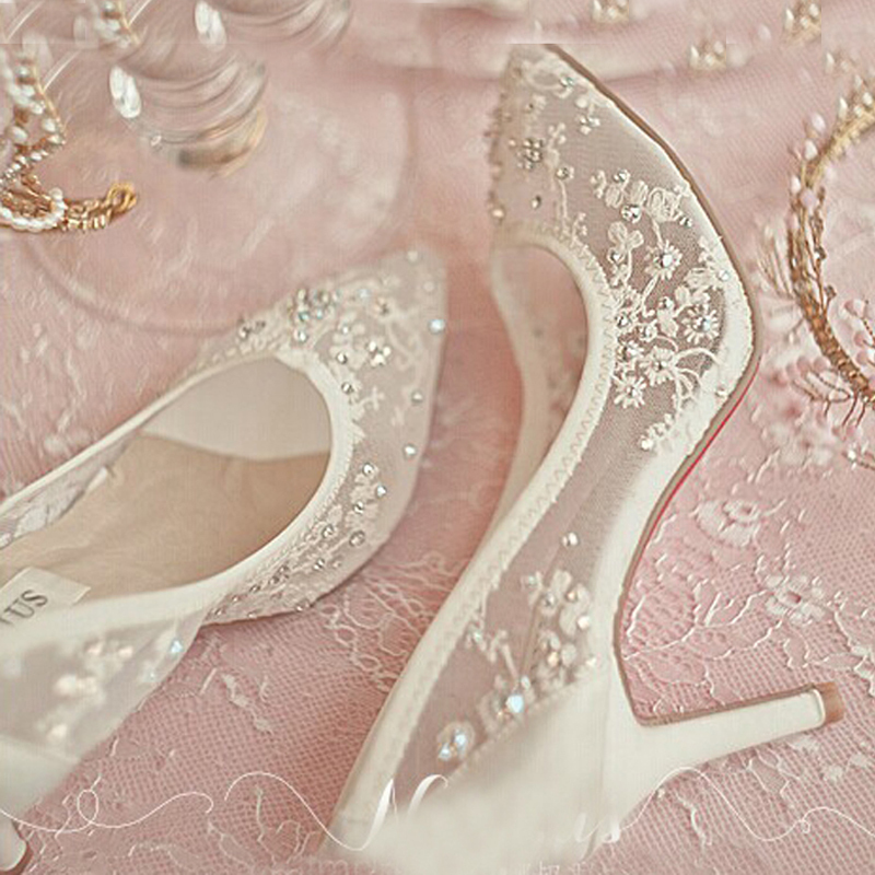 Beautiful High Heel Wedding Shoes Lace Rhinestone Spring Bridal Dress Shoes Sexy Hollow Transparent Prom Formal Dress Shoes beautiful fashion blue wedding shoes for woman rhinestone bridal dress shoes lady high heel luxurious party prom shoes