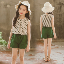 Teenage Girls Clothing Costume For Summer Linen Green Dot Clothes Sets 2pcs/Set Vest+Shorts
