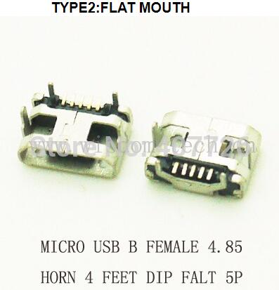 10pcs/lot B Type Phone Tail Charing Connector USB Jack Female Socket 4.85 Horn Micro USB Connector 5P DIP FLAT MOUTH