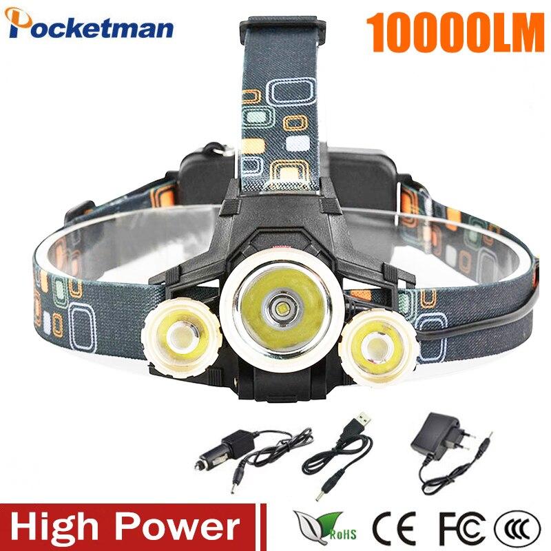 10000lm CREE XML T6 + 2r5 Наружное освещение светодиодные фары Глава свет лампы 4 Режим Факел 2x18650 автомобильное зарядное устройство usb