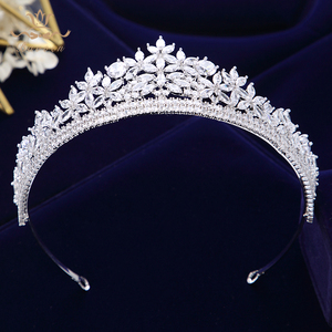 Image 3 - Bavoen Top Quality Brides Royal Sparkling Zircon Tiaras Crown Silver Crystal Hairbands Headpieces Wedding Hair Accessories