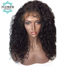 FlowerSeason 13*6 Deep Part Brazilian Kinky Curly Lace Front Human Hair Wigs With Baby Hair For Black Women Non Remy Pre Plucked