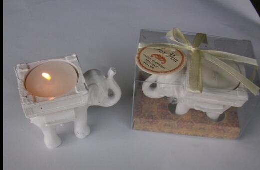 80 Pcs Wedding Favors Ceramic Lucky Elephant Candle Holder Candle