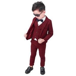 Flower Boys Formal Blazer Suit Kids Jacket Vest Pants Tie 4Pcs Wedding Tuxedo Set Children Prom Costume Performance Dress