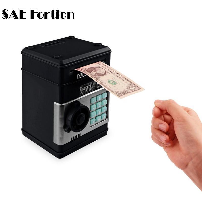 Electronic Password Money Saving Box Coins Saving ATM Bank Safe Box Toy Automatic Electronic Money Safe Box JNP9438
