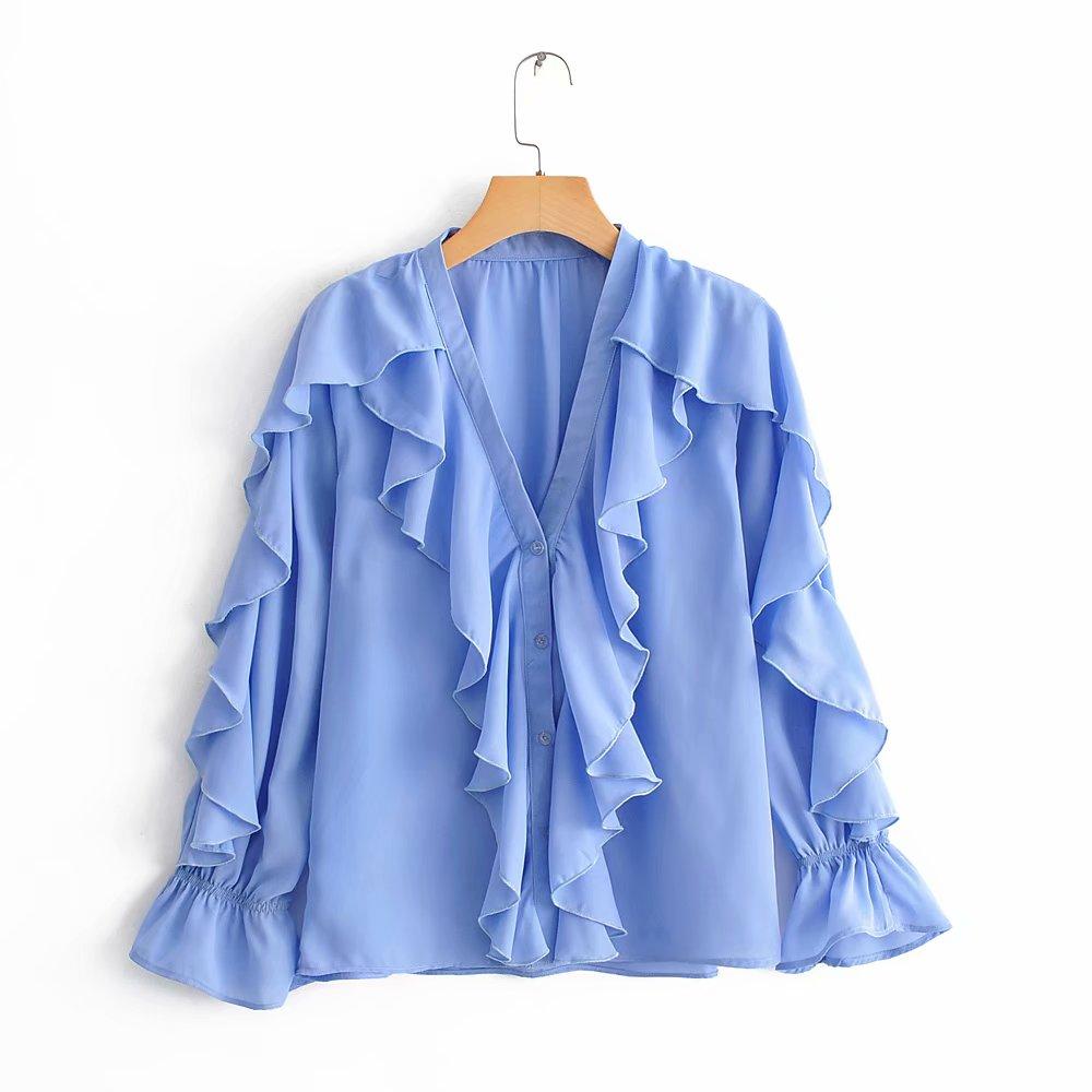 BBWM WOMAN Za Sweet Blue Ruffled Chiffon Blouse Elegant Women V-Neck Long Sleeve Cute Girls Fashion Shirt Tops Blusas Mujer